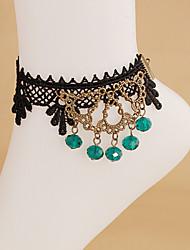 Black Lace Vintage Blue Crystal Toe Ring