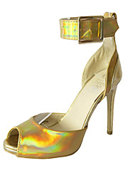 Women's Shoes Stiletto Peep Toe/Platform Sandal Wedding/Party & Evening/Dress Laser Silver/Gold