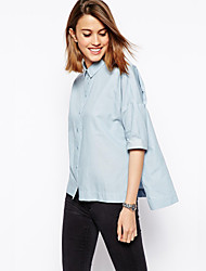 2015 Summer Blouse New Half Sleeve Turn-down Collar Chiffon See-though Sexy Casual Women Shirt with Asymmetric Bottom
