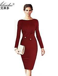 women's horizontal collar Long sleeve pure colour sllim pencil skirt (Polyester)