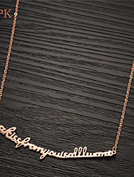 OPK®Fashion I Want You to Kiss Letter Plating 18 K Rose Gold Necklace Love Gift