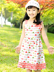 Girl's Hat Print Summer/Spring Inelastic Opaque/Medium Sleeveless Dresses (100% Cotton)