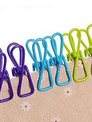 set di 10 in acciaio inox colorato caricato lavanderia metallo vestiti clip (colore casuale)