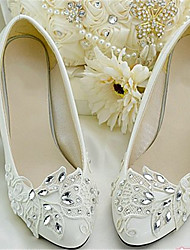 Women's Shoes Leather Chunky Heel Heels/Pointed Toe Pumps/Heels Wedding/Party & Evening White