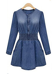 Women's Blue Denim Dress Long Sleeve