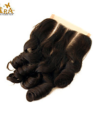"10""-20"" Brazilian Virgin Hair Egg Curl Lace top Closure Color Natural Black Baby Hair for Black Women"