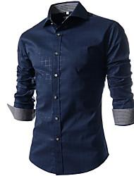 Men's Fashion Plaid Slim Long Sleeved Shirt