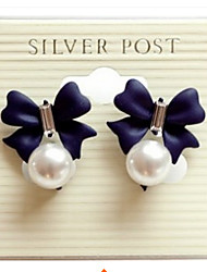 Lucky Star Women's Elegant Imitation Pearl Bow Type Earrings More Color