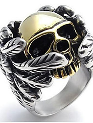 Stainless Steel Gothic Wing Skull Men's Ring