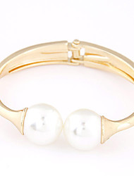 Women's European Style Metal Trend Alloy Cuff With Imitation Pearl Bracelet