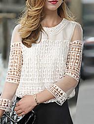 nouvelle mousseline dentelle col manches 3/4 pan creux chemise de Diors femmes