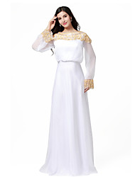 Formal Evening Dress - Ivory A-line Bateau Floor-length Chiffon/Stretch Satin