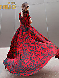 Verragee®2015 Spring and Summer European and American Big Leopard Chiffon Long Dress Length Skirt Large Size Women