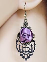 Women's Vintage Black Lace Cloth Purple Roses Earrings