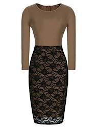 VICONE Women's Lace Long Sleeve Sexy Bodycon OL Slim Long Pencil Dresses