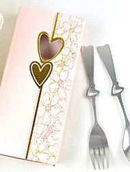 Portable Heart shaped Stainless Steel Fork And Spoon Set Flatware 16.5*8*2.5 cm