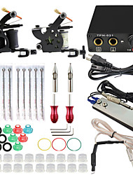 ITATOO™ Tattoo Kit 2pcs Tattoo Machines Mini Tattoo Power Supply Set with ITATOO™ Tattoo Needles