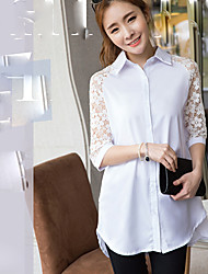 Women's Sexy Casual Lace Micro Elastic Long Sleeve Regular Shirt (Cotton)