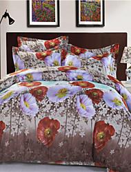 Mingjie White and Orange Flowes Grey Plants 3D Bedding Sets Queen Size Bed Linen Duvert Cover Sets