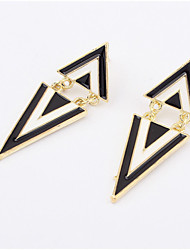 Trendy black and white hot triangle stud earrings