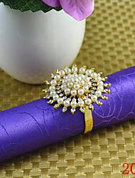 6Pcs Beaded Flower Fapkin Ring