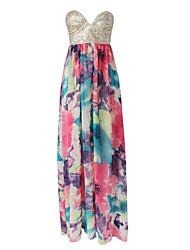 Women's Multi-color Dress , Beach Strapless Sleeveless