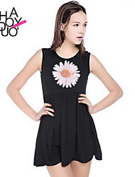Women's Casual/Daily Dress,Print Above Knee Sleeveless Black Summer