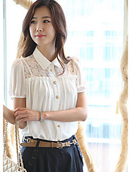 Women's Sexy Casual Lace Micro Elastic Short Sleeve Regular Shirt (Lace)
