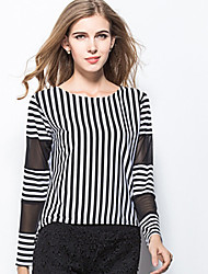 Women's Casual Round Long Sleeve Tops & Blouses (Chiffon/Cotton Blend)