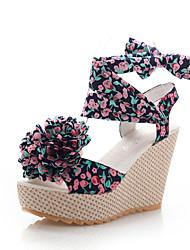 Zapatos de mujer - Tacón Cuña - Cuñas / Punta Abierta - Sandalias - Oficina y Trabajo / Vestido - Tejido - Negro / Azul