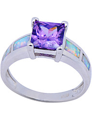 High Quality Fashion Qlatinum Opal Square Purple Opal Ring