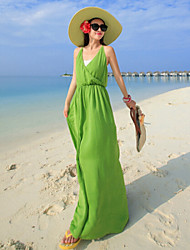 Women's Pure Color Backless Condole Belt Beach Dress(Chiffon/Organza)