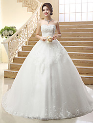 Princess Wedding Dress Lacy Look Court Train Strapless Tulle with Sequin Embroidered