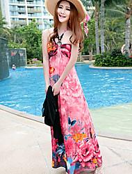 Women's Print Halter Beading Beach Bohemia Maxi Dress(Printing At Random)