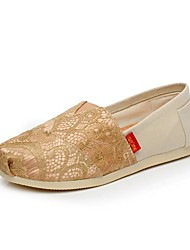 Women's Shoes Canvas Spring / Fall Round Toe Casual Flat Heel Satin Flower / Slip-on Gold / Beige