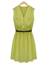 Women's Black/Green/Yellow Dress , Casual V Neck Sleeveless