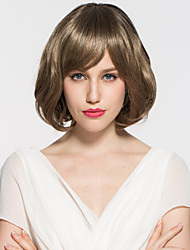 Lady's Short Wavy Light Brown Hair Wig