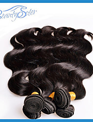 """4Pcs Lot Unproceesed Peruvian Virgin Hair Body Wave 10""""~28"""" 6A Real Human Hair Extensions Color1B"""
