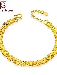 Flower's Secret Placer Heart Charm Clovers Bracelet 7'' length with Hook Clasp