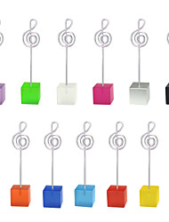 lot of 10pcs Color Cube Stand Music Notation Wire Place Card Holder Photo Memo Clip