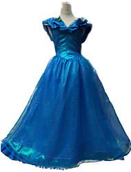 Pretty Cinderella Blue Chiffon & Satin Female Cosplay Costumes