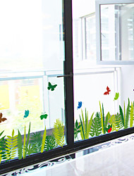 Wall Stickers Wall Decals, Green Glass Butterflies PVC Wall Stickers