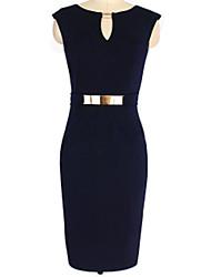 Women's V Neck Dress , Cotton/Knitwear/Polyester/Elastic Knee-length Sleeveless