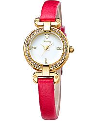 dame élégante haute minérale verre cristal alliage de lunette cas bracelet en cuir montres DC-51065