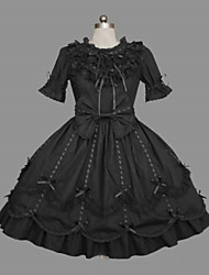 Short Sleeve Knee-Length Black Cotton Classic Lolita Dress with Ribbon