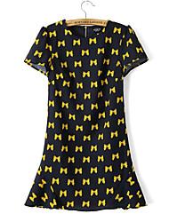 Women's Fashion Europe Navy Blue Bowknot Print Chiffon Dress