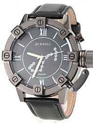 Men's Scorpio Pattern Black Leather Band Quartz Wrist Watch