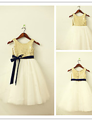 A-line Tea-length Flower Girl Dress - Tulle / Sequined Sleeveless Jewel with