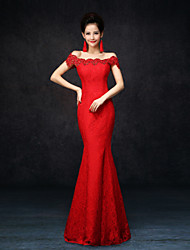 Formal Evening Dress - Ruby Plus Sizes Trumpet/Mermaid Off-the-shoulder Floor-length Lace