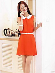 Women's Casual Sleeveless Above Knee Dress (Chiffon)